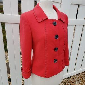 Tahari ASL Light Red Spring Cropped Blazer Jacket